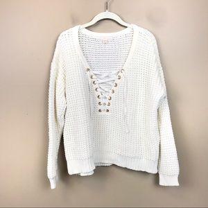 Boston proper ivory lace up waffle knit sweater l